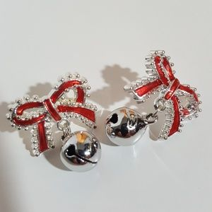 Jewelry - Sexy Christmas Bow w/ Bell Dangle Earrings